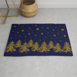 Sparkly Christmas tree, moon, stars Rug