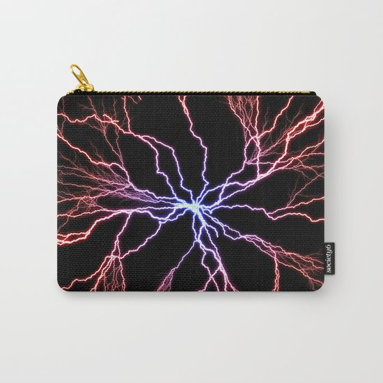 Electrical Lightning Discharge Blue to Red Carry-All Pouch