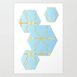 Golden Blue Fretwork Art Print