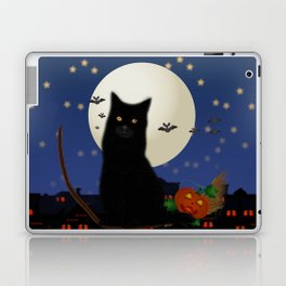 Halloween cat, Halloween, cat, moon, pumpkin, Halloween pumpkin, Halloween night, bats Laptop & iPad Skin