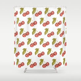 Cherry Watercolor Illustration Pattern Shower Curtain