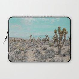 Teal Desert Sky // Cactus Landscape Photography Sierra Nevada USA Cloud Dusted Sky Laptop Sleeve
