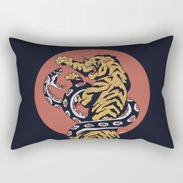 Classic Tattoo Snake vs Tiger Rectangular Pillow
