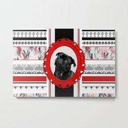 BLACK pug Dog in red frame pattern wall Metal Print