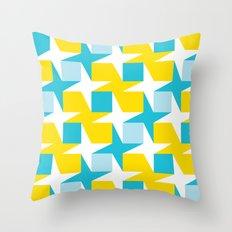 Orange & turquoise blue stars & squares geometric pattern Throw Pillow