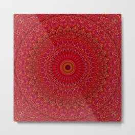 Red Lace Ornament Mandala Metal Print