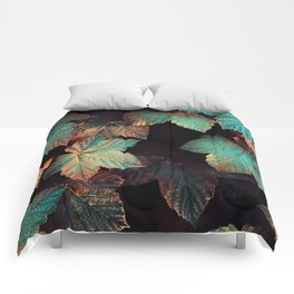 Copper And Teal Leaves Comforters