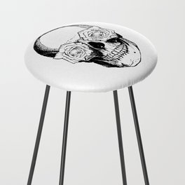 Skull and Roses | Black and White Counter Stool