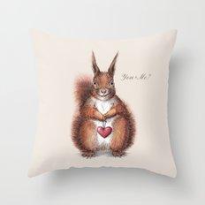 Squirrel heart love Throw Pillow