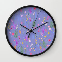 blue meadows colorful floral pattern Wall Clock