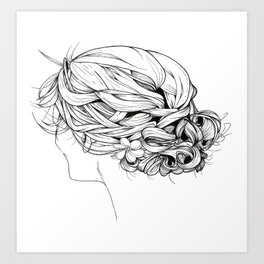 Messy Braid Bun Art Print