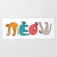 MEOW cats. Art Print