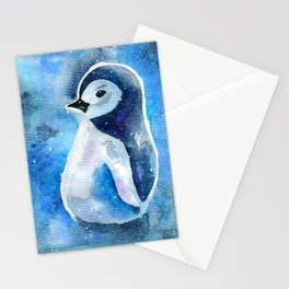 Winter Penguin in the Snow Stationery Cards