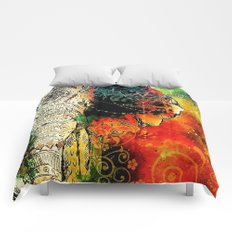 Asian Mandala Elephant Blue Orange Yellow Green Comforters
