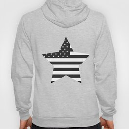 American Flag Stars and Stripes Black White Hoody