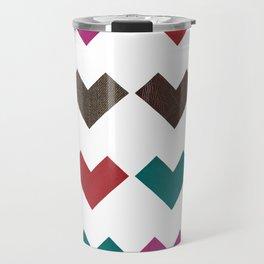 leather geometric love on white Travel Mug