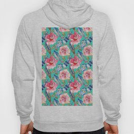 Hand painted blush pink blue turquoise watercolor boho roses floral Hoody