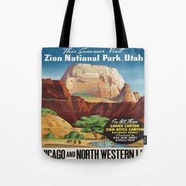 Vintage poster - Zion National Park Tote Bag