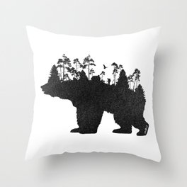 Wild Bear Throw Pillow