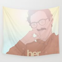 her art Wall Tapestries featuring Her by Borja Espasa