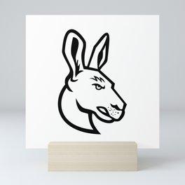 Head of an Angry Kangaroo Side View Mascot Black and White Mini Art Print