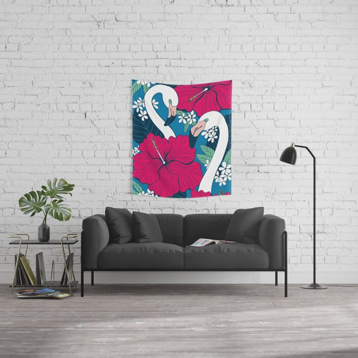 Flamingos and tropical flowers and leaves Wall Tapestry