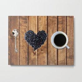 I love coffee on wood Metal Print