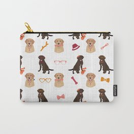 Labrador Retriever Pattern Red Carry-All Pouch
