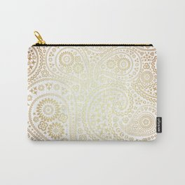 Metallic Bronze Sun Toned Paisley Pattern Carry-All Pouch