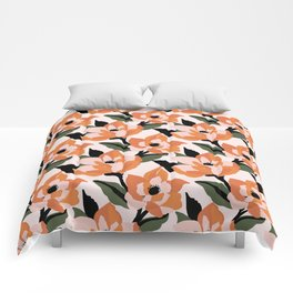 Bold orange poppy on a soft pink base Comforters