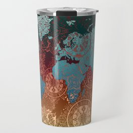 world map mandala vintage Travel Mug