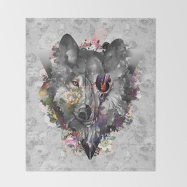 floral wolf 3 Throw Blanket