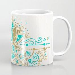Sacred Lotus Mandala – Turquoise & Gold Palette Coffee Mug