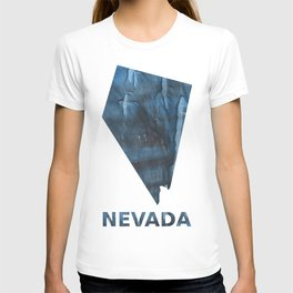 Nevada map outline Dark Gray Blue clouded watercolor pattern T-shirt