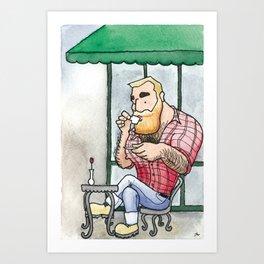 Beefy Lumberjack Enjoys an Espresso Art Print