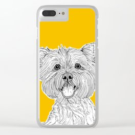 West Highland Terrier Dog Portrait ( yellow background ) Clear iPhone Case