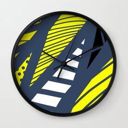 Geometric mix / navy & yellow Wall Clock