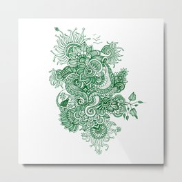 Green Doodle Metal Print