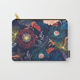 blue line floral Carry-All Pouch
