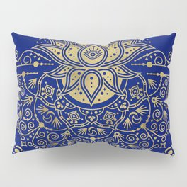 Sacred Lotus Mandala – Navy & Gold Palette Pillow Sham