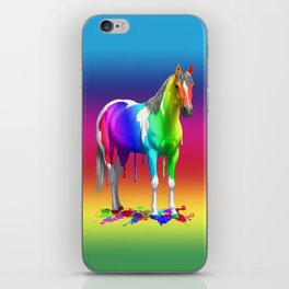 Funny Colorful Rainbow Dripping Wet Paint Horse iPhone Skin