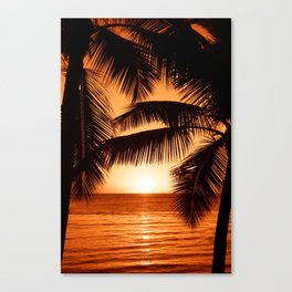 Perfect Palm Sunset (Color) Canvas Print