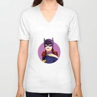 batgirl V-neck T-shirts featuring Batgirl by Rabassa