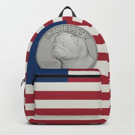 In Pug We Trust - Coin on USA flag Backpack