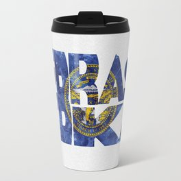 Nebraska Typographic Flag Map Art Travel Mug