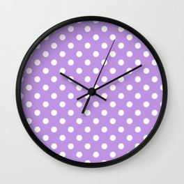Small Polka Dots - White on Light Violet Wall Clock