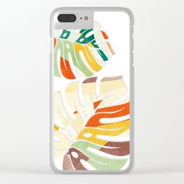 leaves seamless mid century pattern Clear iPhone Case