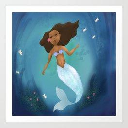 Black Mermaid Art Print