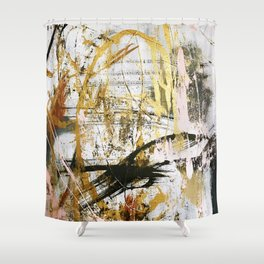 Armor [9]:a bright, interesting abstract piece in gold, pink, black and white Shower Curtain