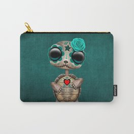 Blue Day of the Dead Sugar Skull Baby Turtle Carry-All Pouch